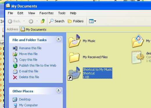 how to create a shortcut to desktop from my documents